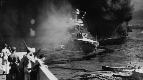 The USS California settles on the bottom of the harbor after being bombed and torpedoed by the Japanese.