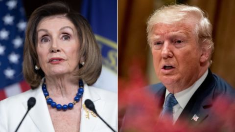 LEFT: US Speaker of the House Nancy Pelosi holds her weekly press conference on Capitol Hill in Washington, DC, December 5, 2019. (Photo by SAUL LOEB / AFP) (Photo by SAUL LOEB/AFP via Getty Images)  RIGHT: President Donald Trump, right, accompanied by acting chief of staff Mick Mulvaney, left, speaks at a luncheon with members of the United Nations Security Council in the Cabinet Room at the White House in Washington, Thursday, Dec. 5, 2019. (AP Photo/Andrew Harnik)