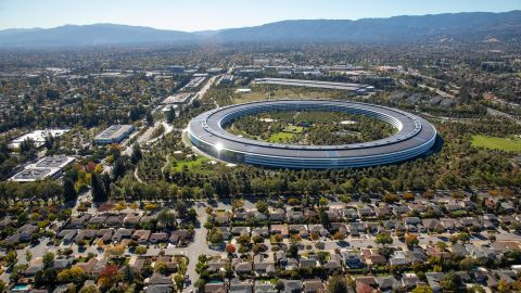 The Apple Park campus stands in this aerial photograph taken above Cupertino, California, in October 2019.