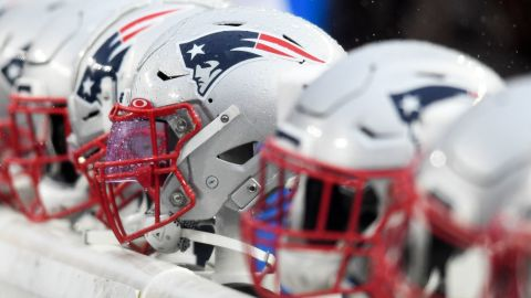 New England Patriots helmets on the sideline prior to a game against the Cleveland Browns on October 27, 2019 at Gillette Stadium in Foxborough, Massachusetts. New England won 27-13.