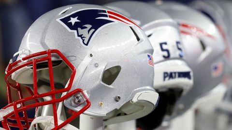 FOXBOROUGH, MASSACHUSETTS - OCTOBER 10: A detailed view of the helmets of New England Patriots prior to the game against the New York Giants at Gillette Stadium on October 10, 2019 in Foxborough, Massachusetts. (Photo by Maddie Meyer/Getty Images)
