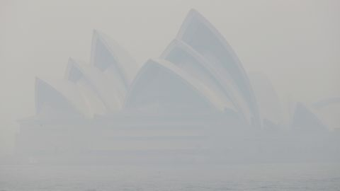 Thick smoke shrouds the Opera House in Sydney on Tuesday.