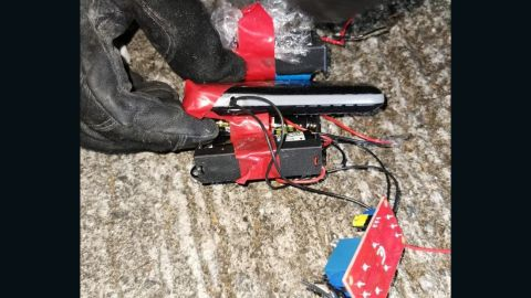 """This handout photograph from Hong Kong police shows the elements of two homemade bombs that were """"fully functional and ready to be used."""""""