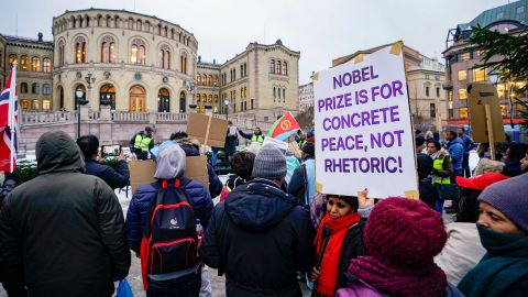 Protesters demonstrate in front of the Norwegian Parliament against Ethiopian Prime Minister Abiy Ahmed on Monday.