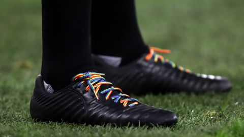 Everything from corner flags, advertising boards and shoe laces had a rainbow theme.