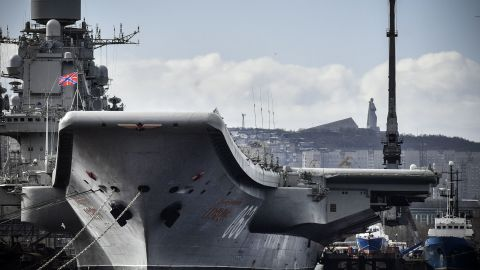 The Admiral Kuznetsov is pictured in the northern Russian port of Murmansk in May 2018.