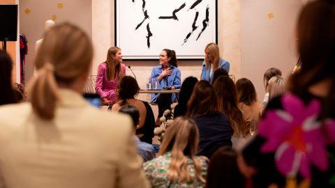 Podcast hosts Camille Charriere and Monica de La Villardier speak at the ESCADA X Fashion no Filter Podcast on June 06, 2019 in London.