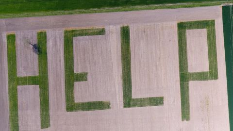 An aerial shot from a farm in France, highlighting the threat to agriculture of a warming planet.