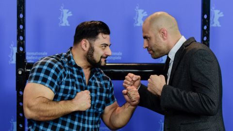 """James Wilks (right) poses with German strongman Patrik Baboumian (left) who is a protagonist in """"The Game Changers"""" and speaks of his improved performance since transitioning to a plant-based diet."""