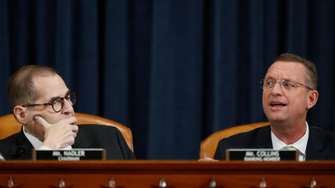 House Judiciary Committee ranking member Rep. Doug Collins, R-Ga., speaks next to House Judiciary Committee Chairman Rep. Jerrold Nadler, D-N.Y., during a House Judiciary Committee markup of the articles of impeachment against President Donald Trump, Thursday, Dec. 12, 2019, on Capitol Hill in Washington.