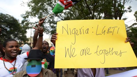 Kenyan gay and lesbian organizations demonstrate Nigeria's anti-gay law outside the Nigerian High Commission in Nairobi on February 7, 2014.