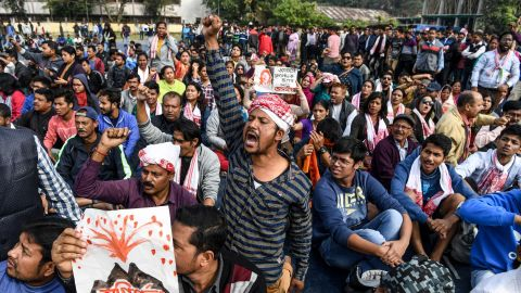Demonstrators shout slogans during a protest against the government's Citizenship Amendment Bill (CAB) in Guwahati on December 13, 2019. - Internet access has been cut in India's northeastern city of Guwahati after violent protests over a new citizenship law saw two demonstrators shot dead by police, authorities said on December 13. (Photo by Sajjad  HUSSAIN / AFP) (Photo by SAJJAD  HUSSAIN/AFP via Getty Images)