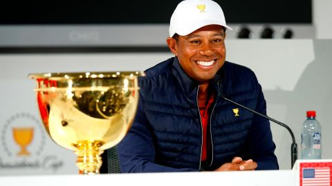 Just look at the smile on Tiger Woods' face.