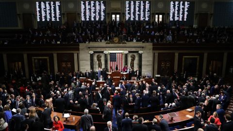 WASHINGTON, DC - DECEMBER 18: The House of Representatives votes on the second article of impeachment of US President Donald Trump at in the House Chamber at the US Capitol Building on December 18, 2019 in Washington, DC. The U.S. House of Representatives voted to successfully pass two articles of impeachment against President Donald Trump on charges of abuse of power and obstruction of Congress. (Photo by Chip Somodevilla/Getty Images)