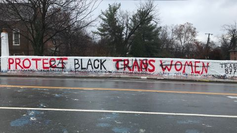 The defaced mural on the Beta Bridge near the University of Virginia