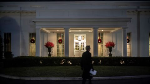 A view of the West Wing of the White House on Wednesday night.