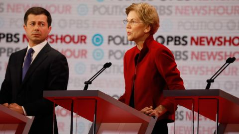 Elizabeth Warren participates in the Decmocratic debate co-hosted by Politico and PBS Newshour in Los Angeles, California, on Thursday, December 19.