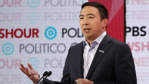 LOS ANGELES, CALIFORNIA - DECEMBER 19: Democratic presidential candidate former tech executive Andrew Yang  speaks during the Democratic presidential primary debate at Loyola Marymount University on December 19, 2019 in Los Angeles, California. Seven candidates out of the crowded field qualified for the 6th and last Democratic presidential primary debate of 2019 hosted by PBS NewsHour and Politico. (Photo by Justin Sullivan/Getty Images)
