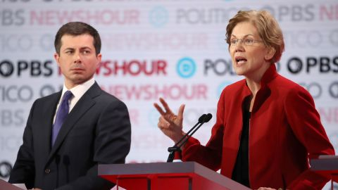 LOS ANGELES, CALIFORNIA - DECEMBER 19: Sen. Elizabeth Warren (D-MA) speaks as South Bend, Indiana Mayor Pete Buttigieg listens during the Democratic presidential primary debate at Loyola Marymount University on December 19, 2019 in Los Angeles, California. Seven candidates out of the crowded field qualified for the 6th and last Democratic presidential primary debate of 2019 hosted by PBS NewsHour and Politico. (Photo by Justin Sullivan/Getty Images)