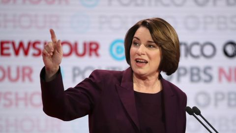 LOS ANGELES, CALIFORNIA - DECEMBER 19: Democratic presidential candidate Sen. Amy Klobuchar (D-MN) speaks during the Democratic presidential primary debate at Loyola Marymount University on December 19, 2019 in Los Angeles, California. Seven candidates out of the crowded field qualified for the 6th and last Democratic presidential primary debate of 2019 hosted by PBS NewsHour and Politico. (Photo by Justin Sullivan/Getty Images)