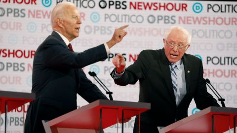Joe Biden and Bernie Sanders argue about healthcare and the affordable care act during the Democratic debate co-hosted by Politico and PBS Newshour in Los Angeles, California, on Thursday, December 19.
