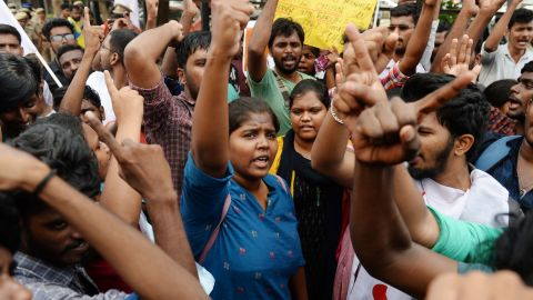 People take part in a protest against India's new citizenship law in Chennai on December 21, 2019.