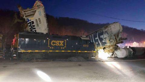 The train derailment scene in Cincinnati on Sunday