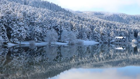 <strong>Bolu, Turkey:</strong> The nature park around Lake Golcuk is dusted with snow in winter.