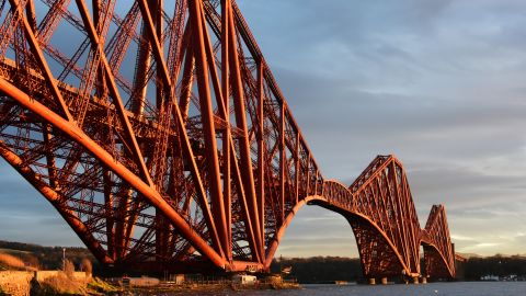 <strong>North Queensferry, Scotland: </strong>The Forth Bridge, seen here glinting in the winter sunlight, connects South and North Queensferry, nine miles west of Edinburgh.