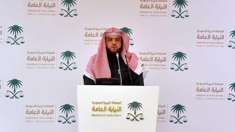 Saudi Deputy Public Prosecutor and spokesman Shalaan al-Shalaan gives a statement in Riyadh on Monday.