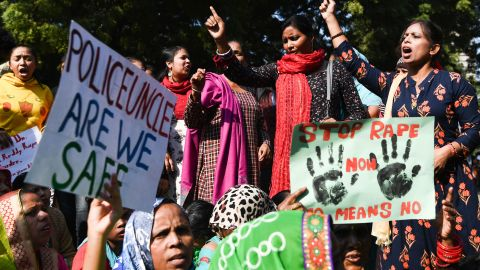 Social activists and supporters protest against the rape and murder of a 27-year-old veterinary doctor in Hyderabad, during a demonstration in New Delhi.