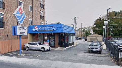 The stolen SUV was parked at this Domino's in Chicago.