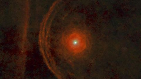 The red supergiant star Betelgeuse is seen here in a new view from the Herschel Space Observatory.