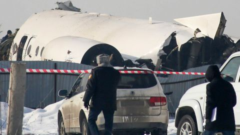 A view of the site of a passenger plane crash outside Almaty on December 27, 2019. - At least 15 people died on December 27, 2019 and dozens were reported injured when a passenger plane carrying 100 people crashed into a house shortly after takeoff from Kazakhstan's largest city. (Photo by Ruslan PRYANIKOV / AFP) (Photo by RUSLAN PRYANIKOV/AFP via Getty Images)