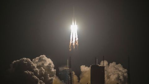 China's heavy-lift Long March 5 rocket blasts off from its launch centre in Wenchang, south China's Hainan province on December 27, 2019. - China on December 27 launched one of the world's most powerful rockets in a major step forward for its planned mission to Mars in 2020. (Photo by STR / AFP) / China OUT (Photo by STR/AFP via Getty Images)