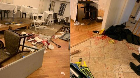 Saturday's attack left blood on the floor of Rabbi Chaim Rottenberg's house.