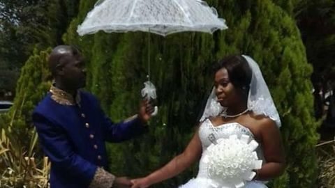 Hector Mkansi and Nonhlanhla Soldaat at their wedding in 2012