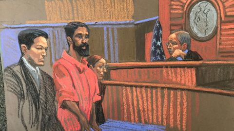 Sketch of Grafton Thomas in federal court on Monday.