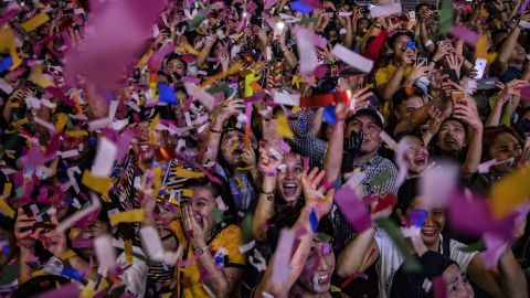 Revelers ring in the new year at a mall in Manila, Philippines.
