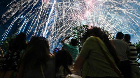 Fireworks erupt during celebrations in Kuala Lumpur, Malaysia.