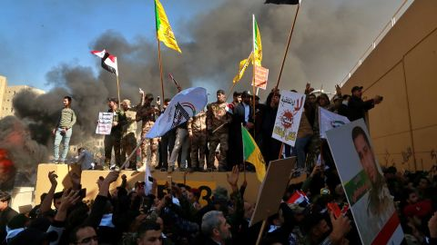 Protesters at the US embassy in Baghdad on Tuesday.
