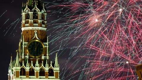 Fireworks explode near the Spasskaya Tower during New Year's celebrations in Moscow's Red Square.