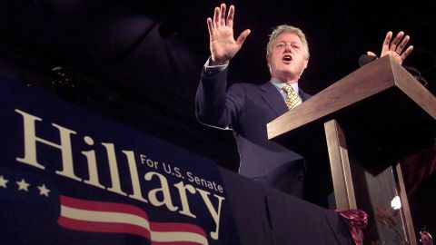 Clinton speaks at a New York fundraiser as he supports his wife's US Senate campaign in October 2000.