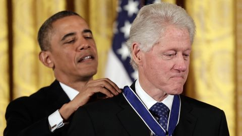 Obama awards Clinton the Presidential Medal of Freedom in November 2013. The medal is considered the nation's highest civilian honor.