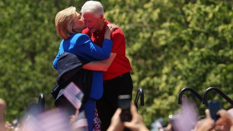 The Clintons embrace after Hillary announced her presidential campaign in June 2015.