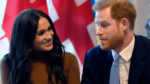 """Meghan and Harry visit the Canada House in London in January 2020. The couple announced the next day that they would be <a href=""""https://www.cnn.com/2018/03/12/world/gallery/prince-harry-meghan-markle-relationship/index.html"""" target=""""_blank"""">stepping back from their roles</a> as senior members of the British royal family."""