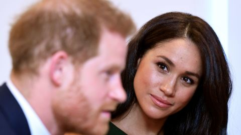 Harry and Meghan attend a pre-ceremony reception for the WellChild Awards in October 2019.