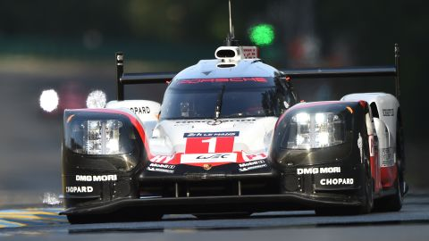 """England's pilot Nick Tandy drives his Porsche 919 Hybrid N°1 during the second qualifying practice session of the Le Mans 24 hours endurance race, on June 15, 2017 in Le Mans northwestern France.  Sixty cars with 180 drivers will participate on June 17 and 18 June at the 85rd """"Le Mans 24-hours"""" endurance race.   / AFP PHOTO / JEAN-FRANCOIS MONIER        (Photo credit should read JEAN-FRANCOIS MONIER/AFP via Getty Images)"""