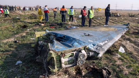 The site of the Ukrainian airliner crash near Tehran in January 2020.