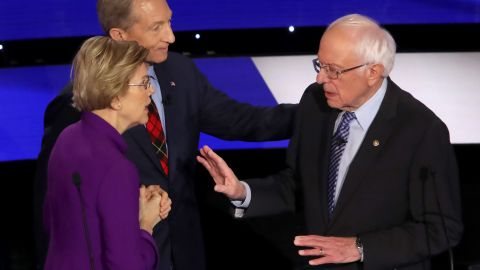 """In a <a href=""""https://www.cnn.com/2020/01/15/politics/bernie-sanders-elizabeth-warren-debate-audio/index.html"""" target=""""_blank"""">tense and dramatic exchange</a> moments after a Democratic debate, Warren accused Sanders of calling her a liar on national television. Sanders responded that it was Warren who called him a liar. Earlier in the debate, the two disagreed on whether Sanders told Warren, during a private dinner in 2018, that he didn't believe a woman could win the presidency."""
